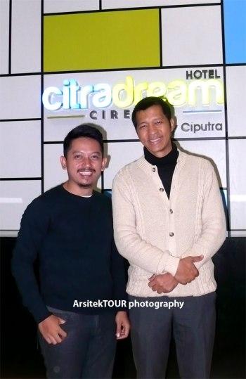 Saya dan Gusdidi Tektonanto, Hotel Manager Citradream Hotel Cirebon.